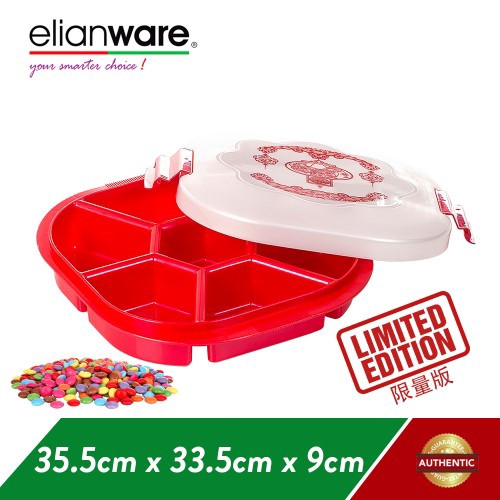 image of Elianware 7 Compartments BPA Free Cookies Snacks Candy Tray CNY Special Edition