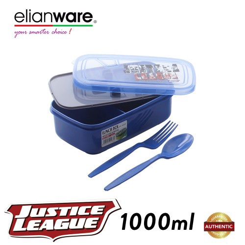 image of Elianware DC Justice League 1L Food Container with Spoon & Fork