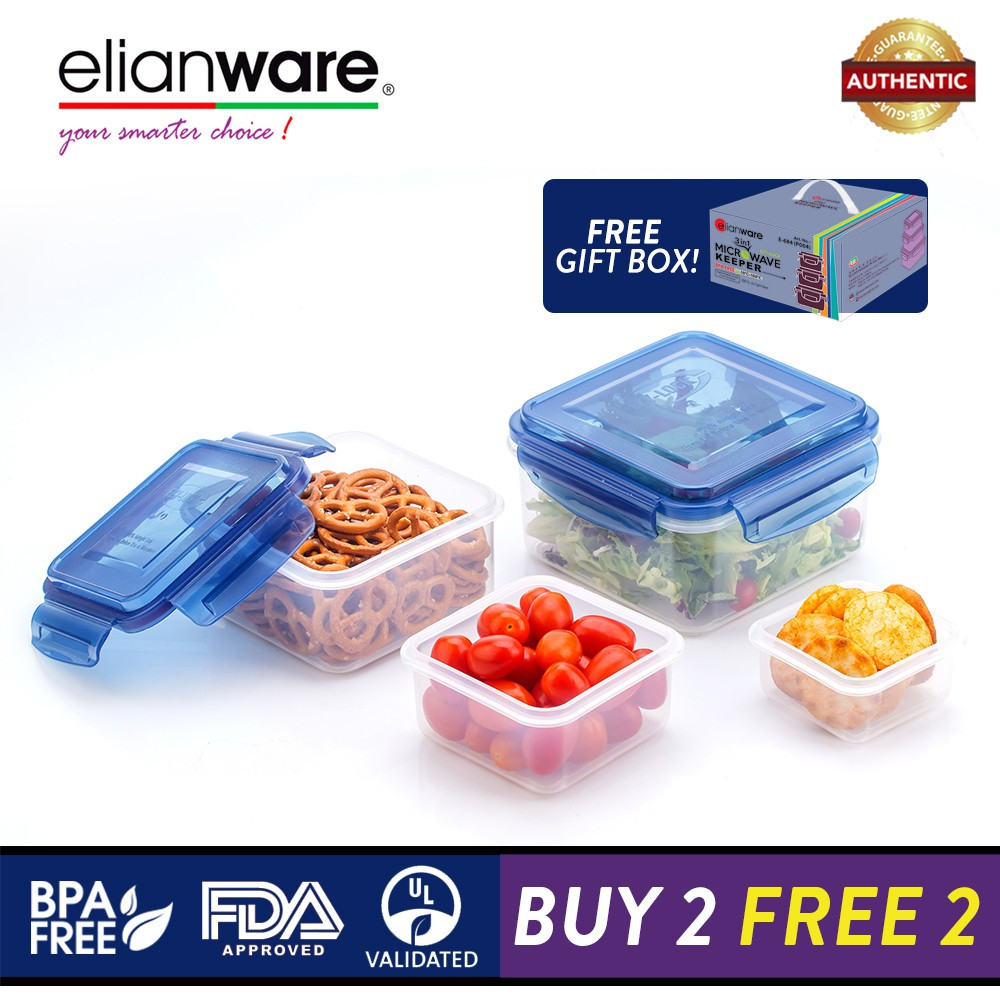 image of Elianware Ezy-Lock 100% Airtight Seal Microwavable Food Containers [BUY 3 FREE 1]