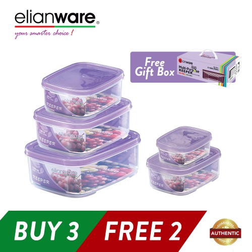 image of Elianware 5 in 1 Set Transparent Microwavable Food Containers Set BPA Free [BUY 3 FREE 2]