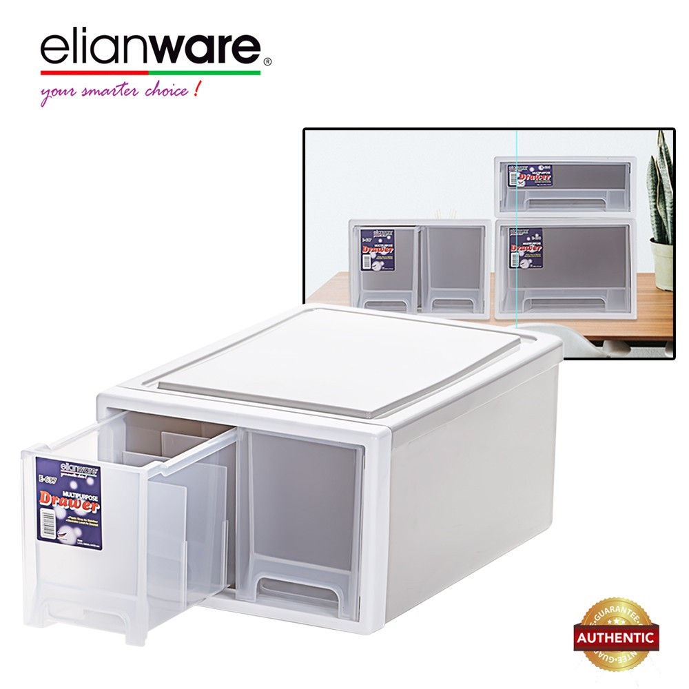 image of Elianware 10 Compartments Elegant Modern Office Drawer Storage Box