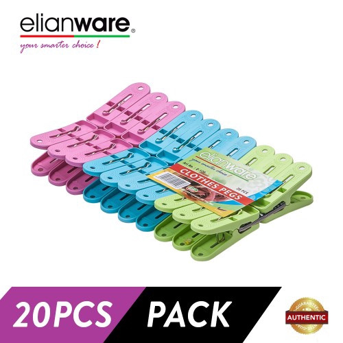 Elianware 20 Pcs Multicolor Clothes Pegs