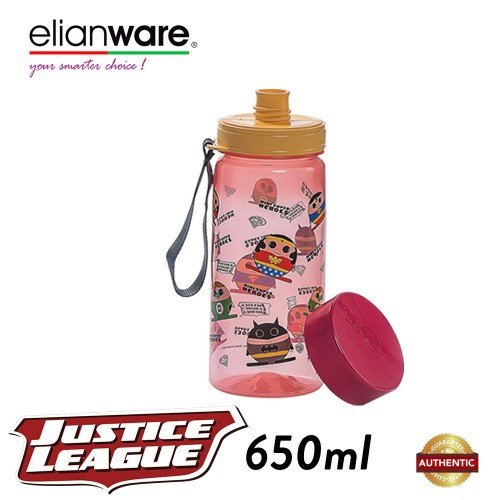 image of Elianware DC Justice League 650ml BPA Free Mini Super Heroes Water Bottle