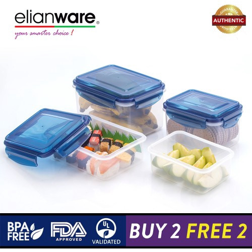 Elianware Ezy-Lock PREMIUM SERIES 100% Airtight Seal Microwavable Food Containers [BUY 2 FREE 2]