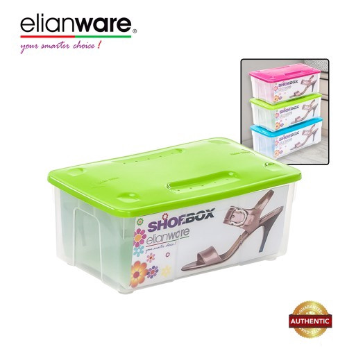 image of Elianware Stackable Transparent Plastic Shoe Box Men and Women Shoes Storage Box