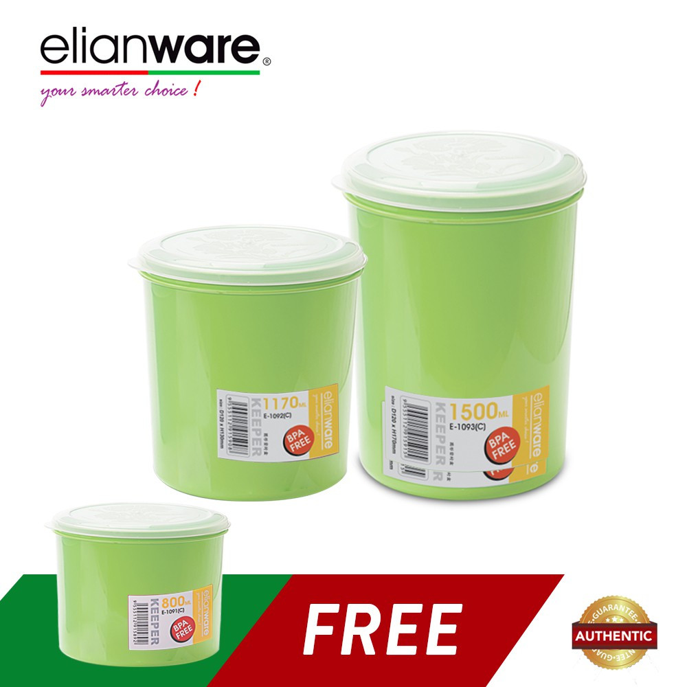 image of Elianware 3 Pcs BPA Free Microwavable Round Solid Plastic Food Containers Set