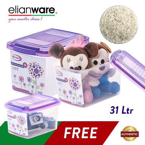 image of Elianware 3 Pcs Ezy-Lock Seal Lock Container Kitchen Rice Food Storage