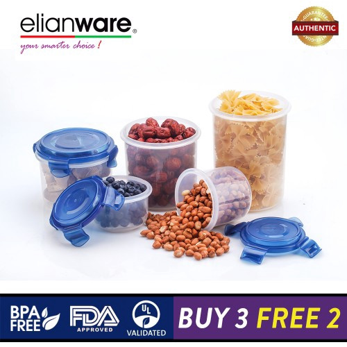 image of Elianware Ezy-Lock PREMIUM SERIES 100% Airtight Seal Microwavable Food Containers [BUY 3 FREE 2]