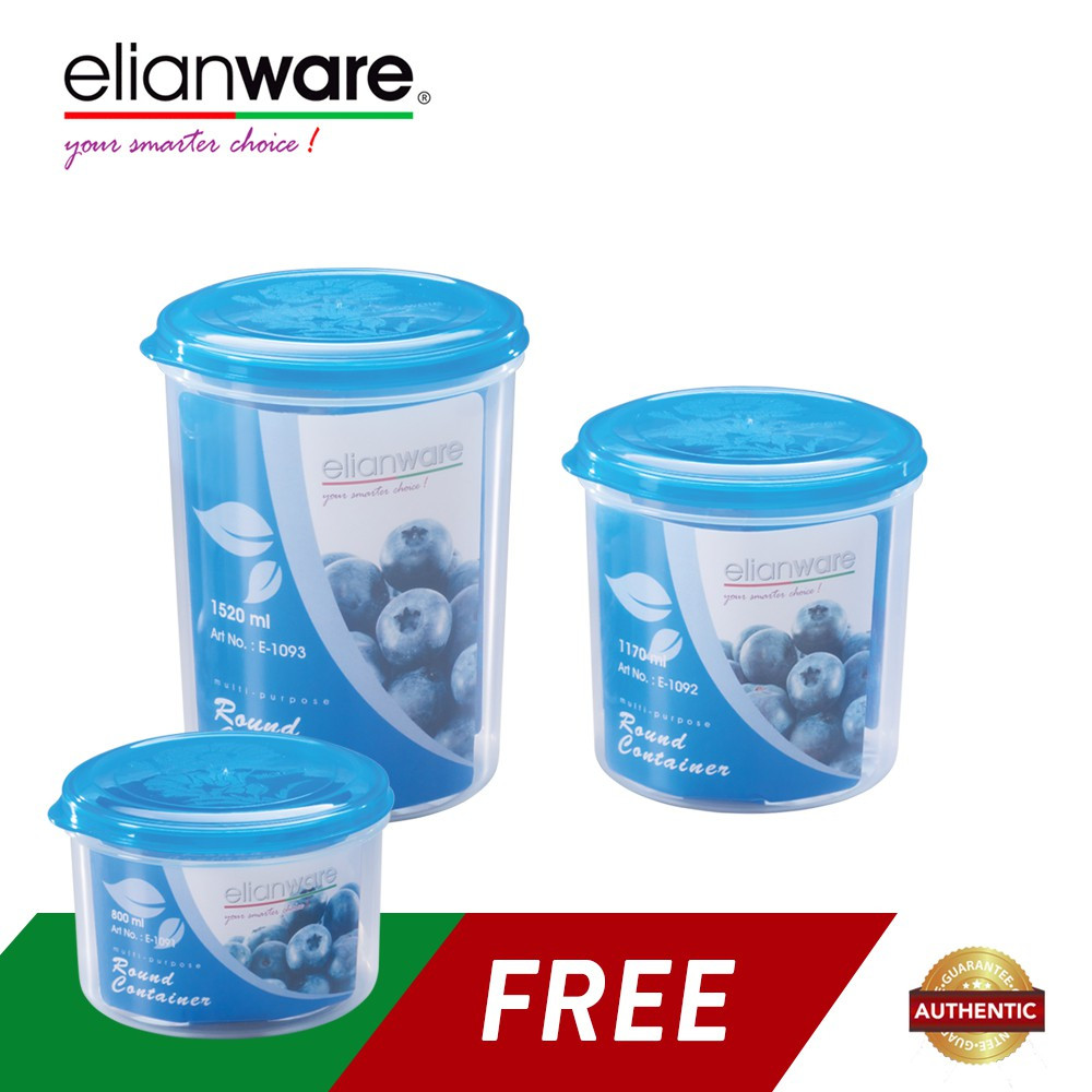 image of Elianware 3 Pcs Blue Transparent BPA Free Microwavable Round Solid Plastic Food Containers Set