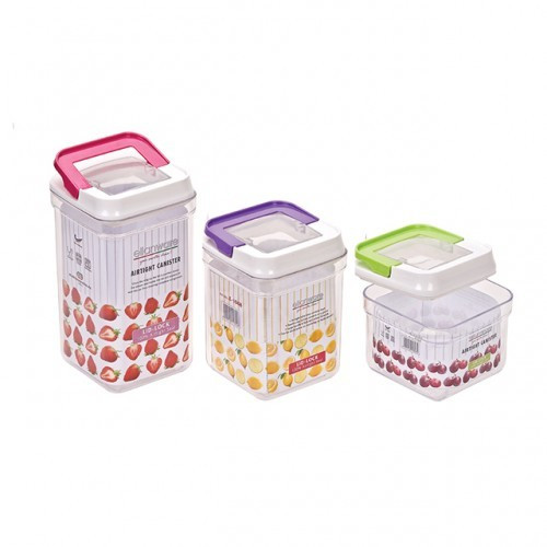 image of Elianware 1pcs 900ml Elegant Plastic Airtight Canister Clear Container Multipurpose Food Storage Keeper Box