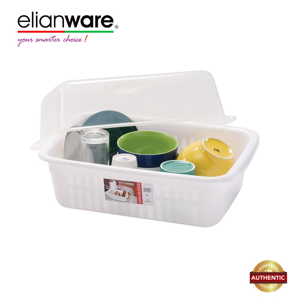 image of Elianware BPA Free Modern Dish Rack Drainer with Cover