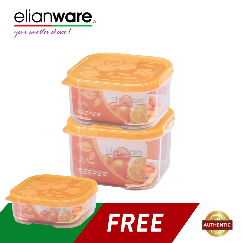 image of  Elianware 3 Pcs Square Transparent Microwavable Plastic Food Containers Set BPA Free
