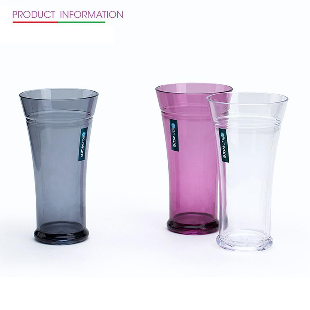 image of Elianware 550ml x 3Pcs Unbreakable Curvy Fashionable Transparent Cup Set