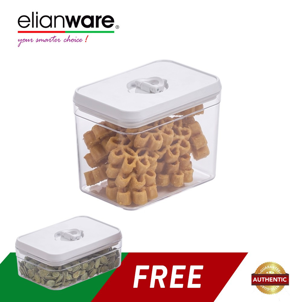 image of Elianware 2pcs Lid Lock Square White Elegant Airtight Canister