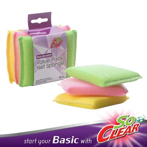 image of Elianware x SoClear 3 PCS Non-Scratch Colour Net Sponge Value Pack