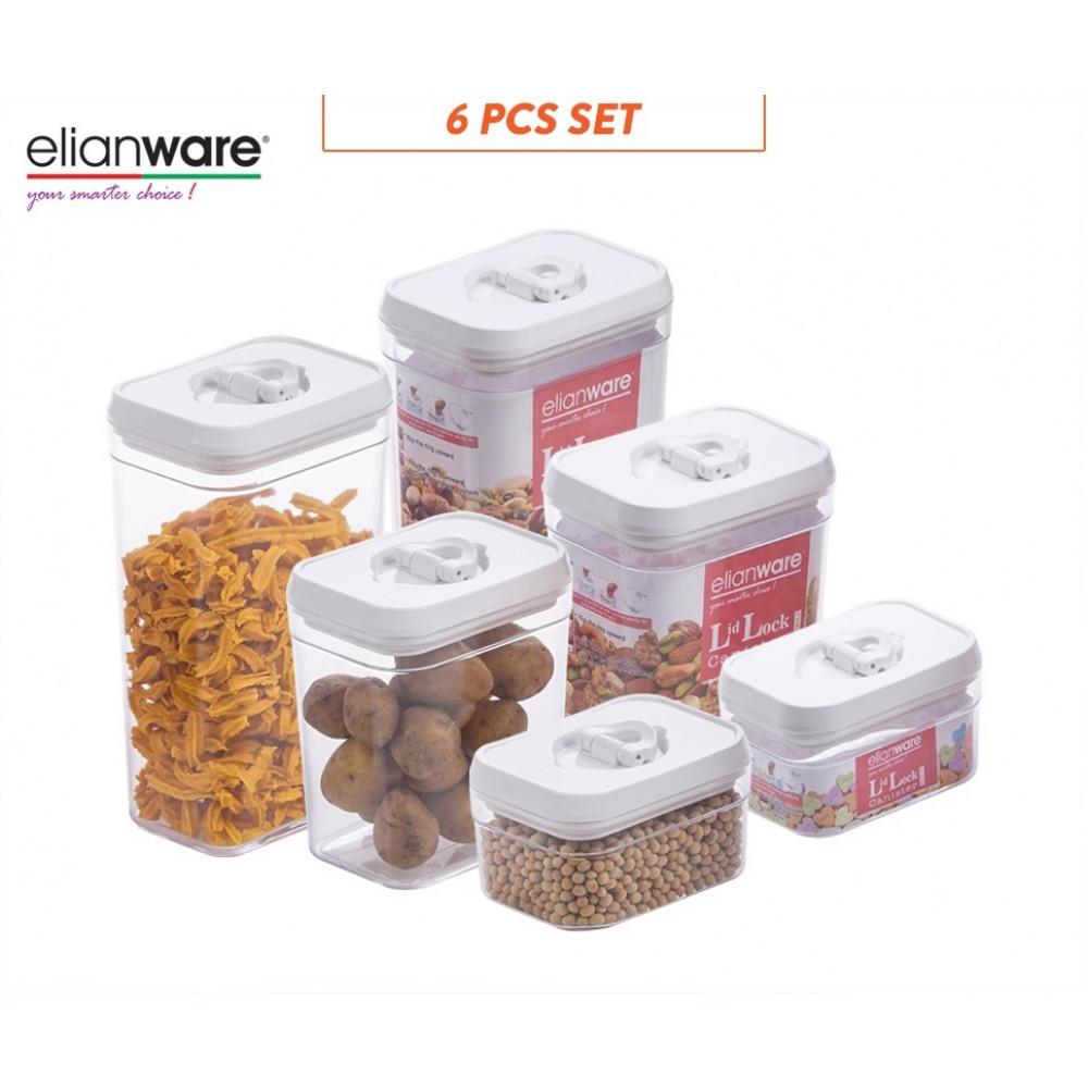 Elianware 6 Pcs Lid Lock White Elegant Rectangular Airtight Canister Food Storage Container