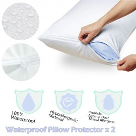 image of Waterproof Pillow Protector Zippered - 2 Pcs