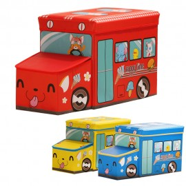 image of Bus Design Children Foldable Toy Organizer Storage Box