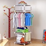 0104 Stainless Steel Multipurpose Cloth Organizer Rack
