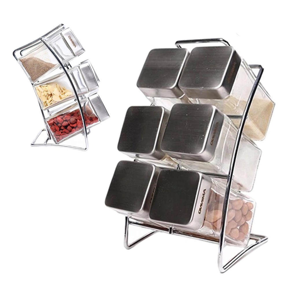 6 Slots spice rack with Glass jars