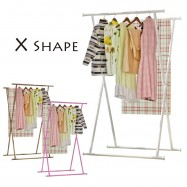 image of X52 X Shape Cloth Hanger Garment Organizer Steel Rack