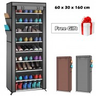 image of XG-10 10 Tier Shoe Rack Dust Cover Cabinet + Free Gift