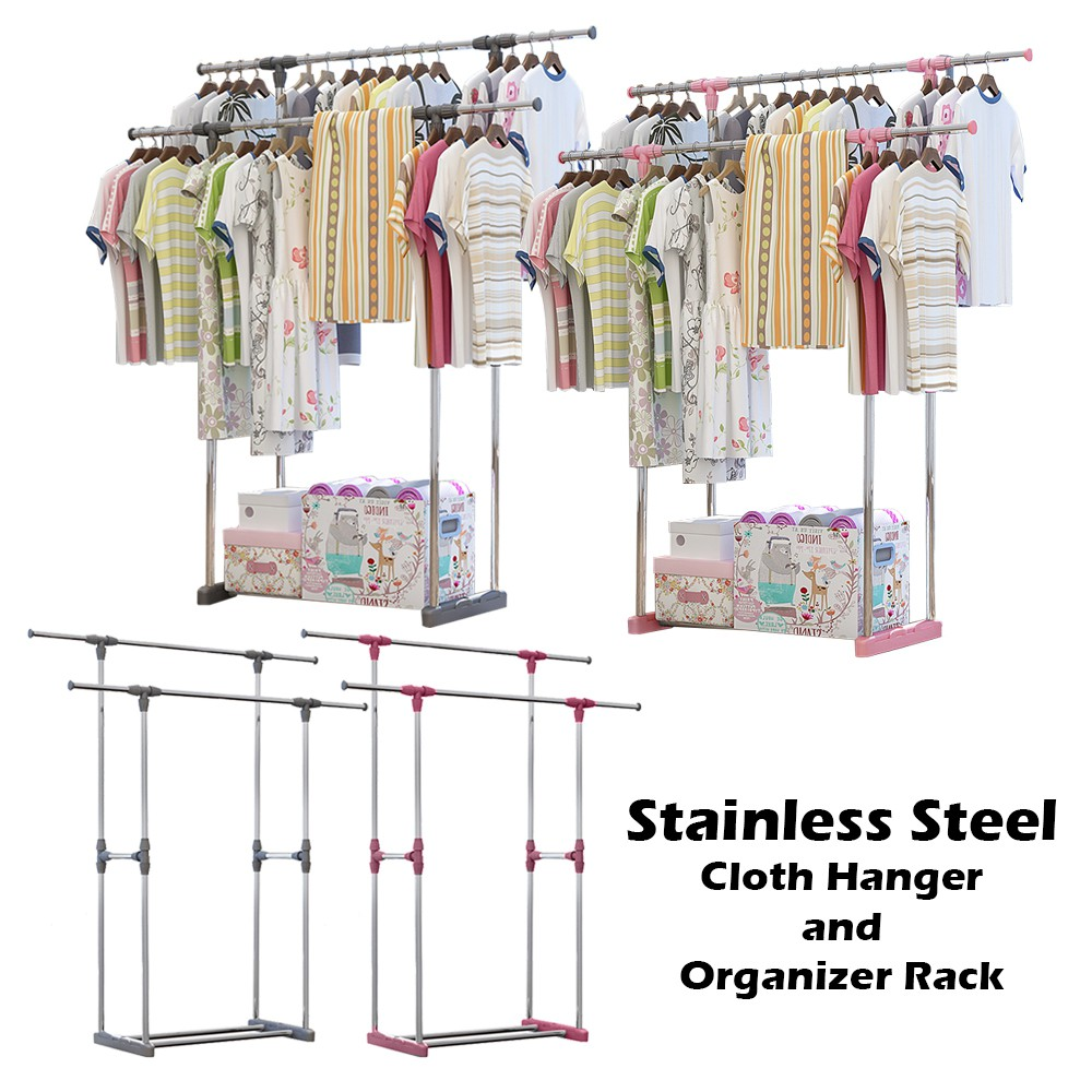 L222 Double Pole Adjustable Stainless Steel Cloth Hanger and Organizer Rack