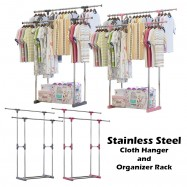 image of L222 Double Pole Adjustable Stainless Steel Cloth Hanger and Organizer Rack