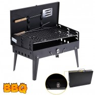 image of Portable Camping BBQ Stove With Tools (Rectangular Shape)