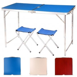 image of Borong Best ! Foldable Outdoor Aluminium Table + 2 Chairs