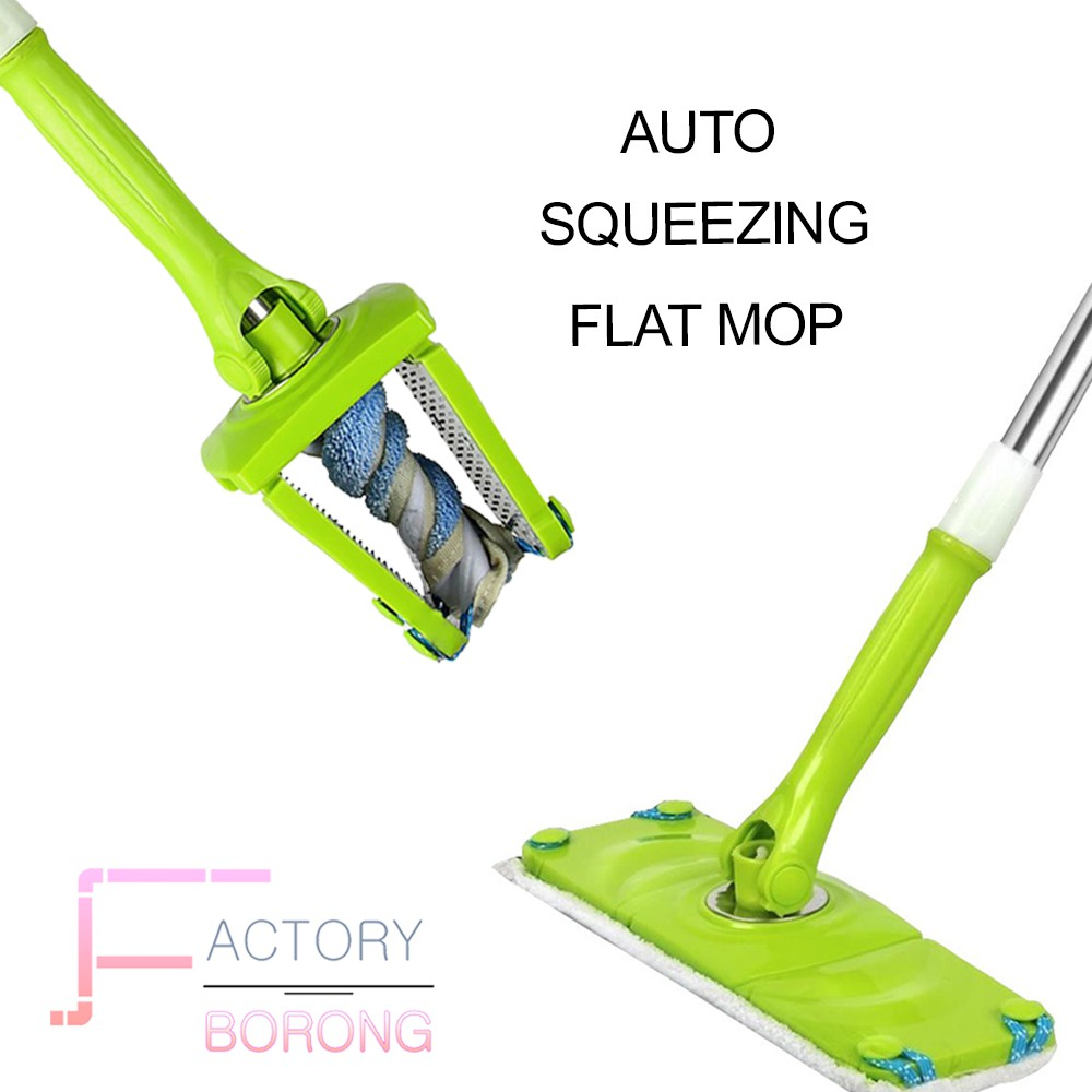 Borong Best! Auto Squeezing & Twisting Flat Mop