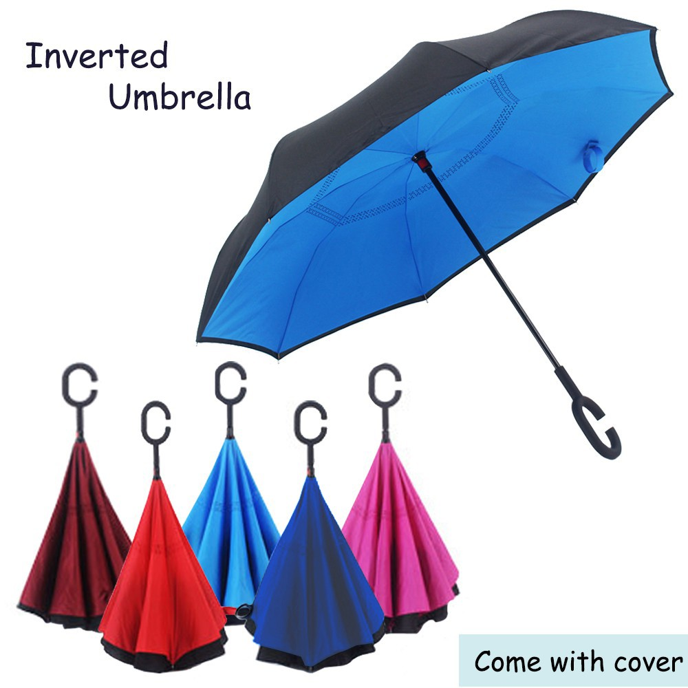 190T Inverted Reverse Double Layer Umbrella C Handle Hook