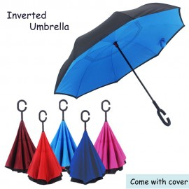 image of 190T Inverted Reverse Double Layer Umbrella C Handle Hook