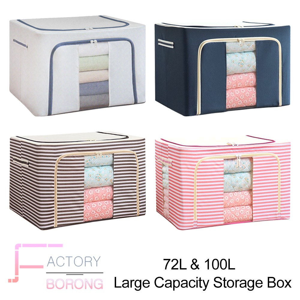Best Borong!!! 72L & 100L Large Capacity Storage Box For Cloth Foldable Towel