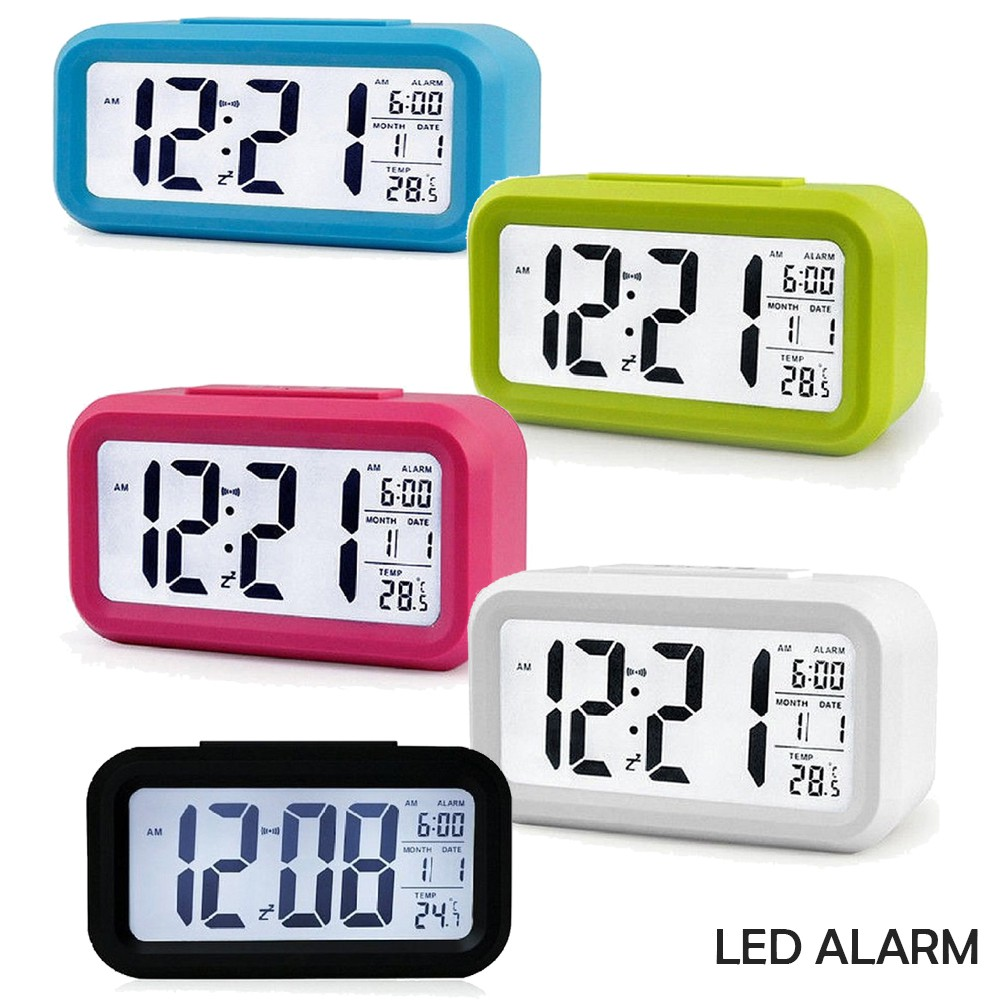 LED Digital Alarm Clock Temperature Calendar Auto Night Sensor