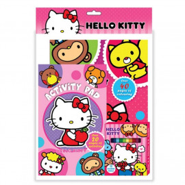 image of Sanrio Hello Kitty Activity & Colouring Book With Activity Pad, 12pcs Colour Pen