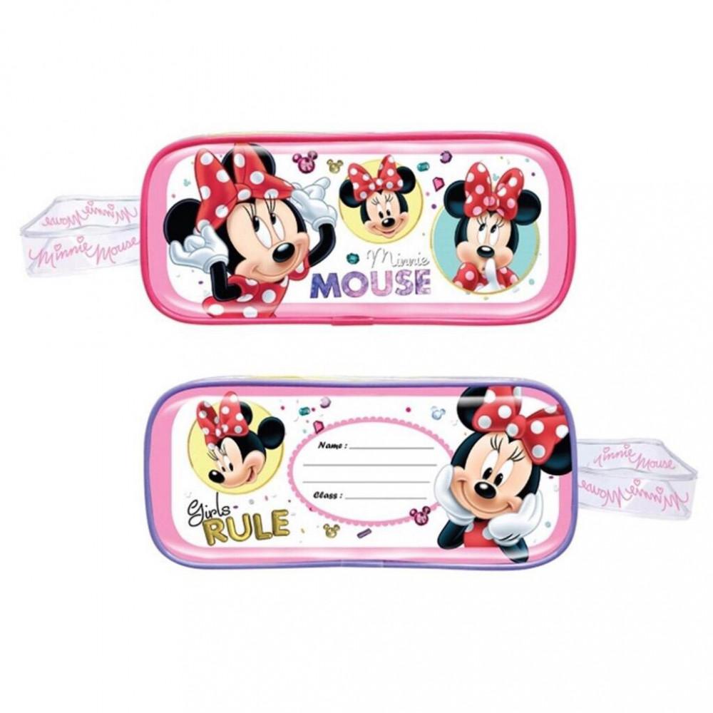 Disney Minnie 5pcs Transparent Square Pencil Bag Set - Pink Colour
