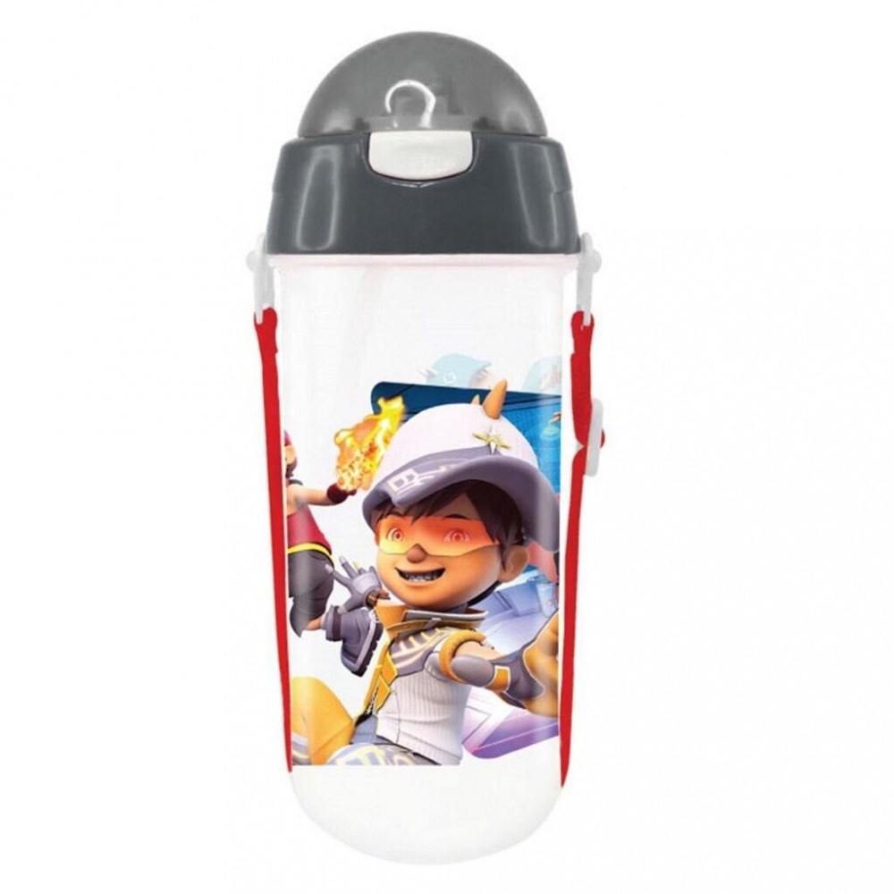 Boboiboy Galaxy 580ML BPA Free Polypropylene Water Bottle With Straw - Grey Colour