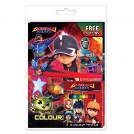 image of Boboiboy Galaxy Activity & Colouring Book With Sticker, 12pcs Colour Pencil