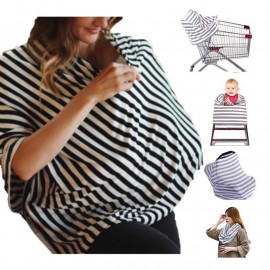 image of Grey Stripe Cotton nursing cover multi use for Baby Car Seat Covers or stroller