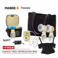image of 1 YR Local Warranty Medela Freestyle breast pump set with hands free bra