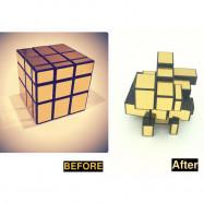 image of Shengshou magic cube mirror block gold sticker 3*3*3