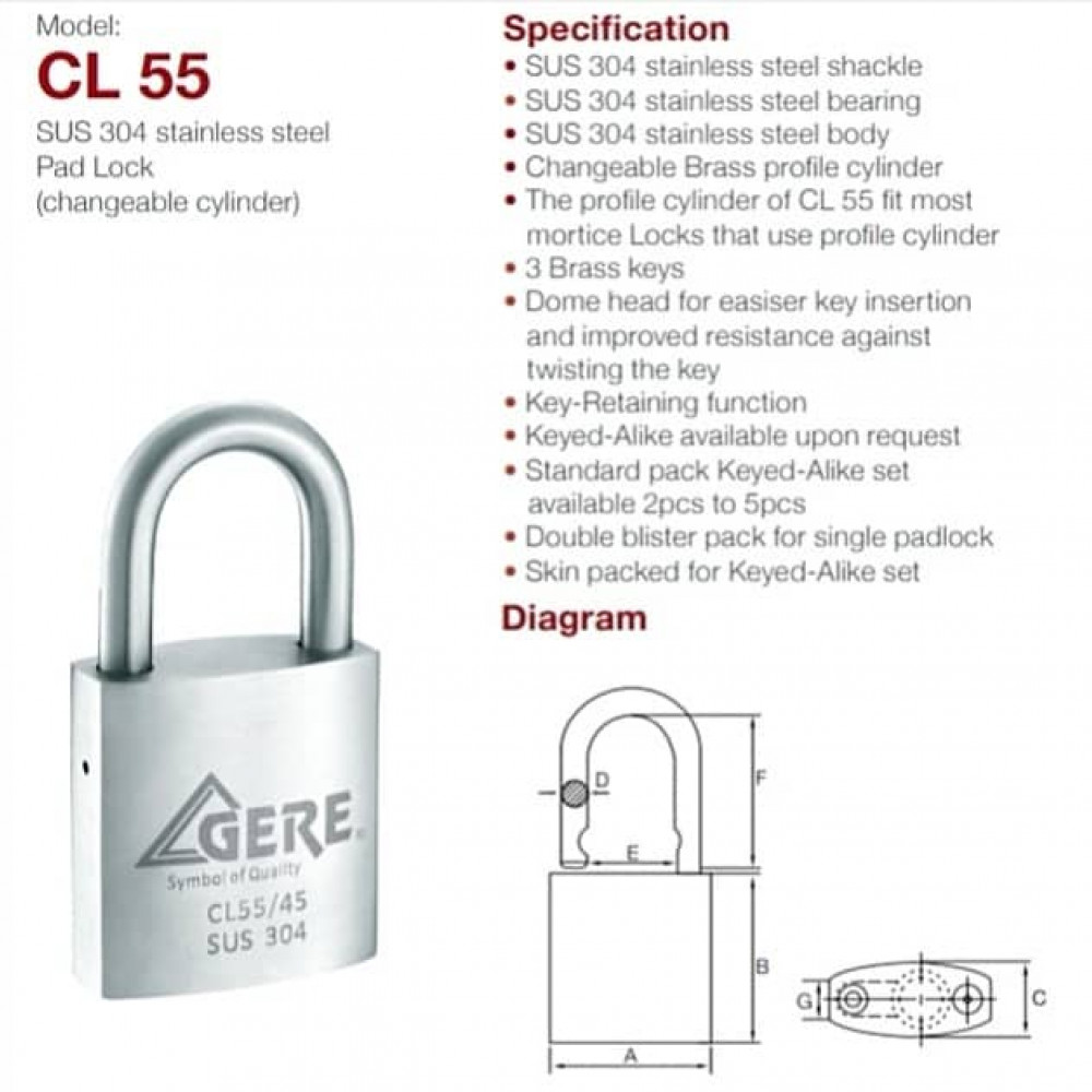 GERE CL55-45mm Cylinder Exchangeable Padlock