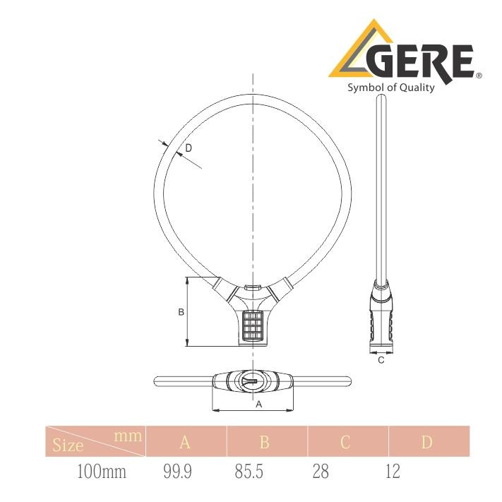 GERE CL32-20815 BICYCLE CABLE COMBINATION LOCK
