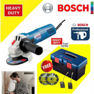 image of BOSCH GWS750-100 Angle Grinder C/W Bosch Tool Box (FREE 2 X DIAMOND DISC + CARBON BRUSH SET)