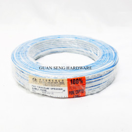 image of PURE COPPER 23/0.14 X 2 CORE BLUE WHITE PVC INSULATED NON-SHEATHED TWIN FLAT WIRE [70M]
