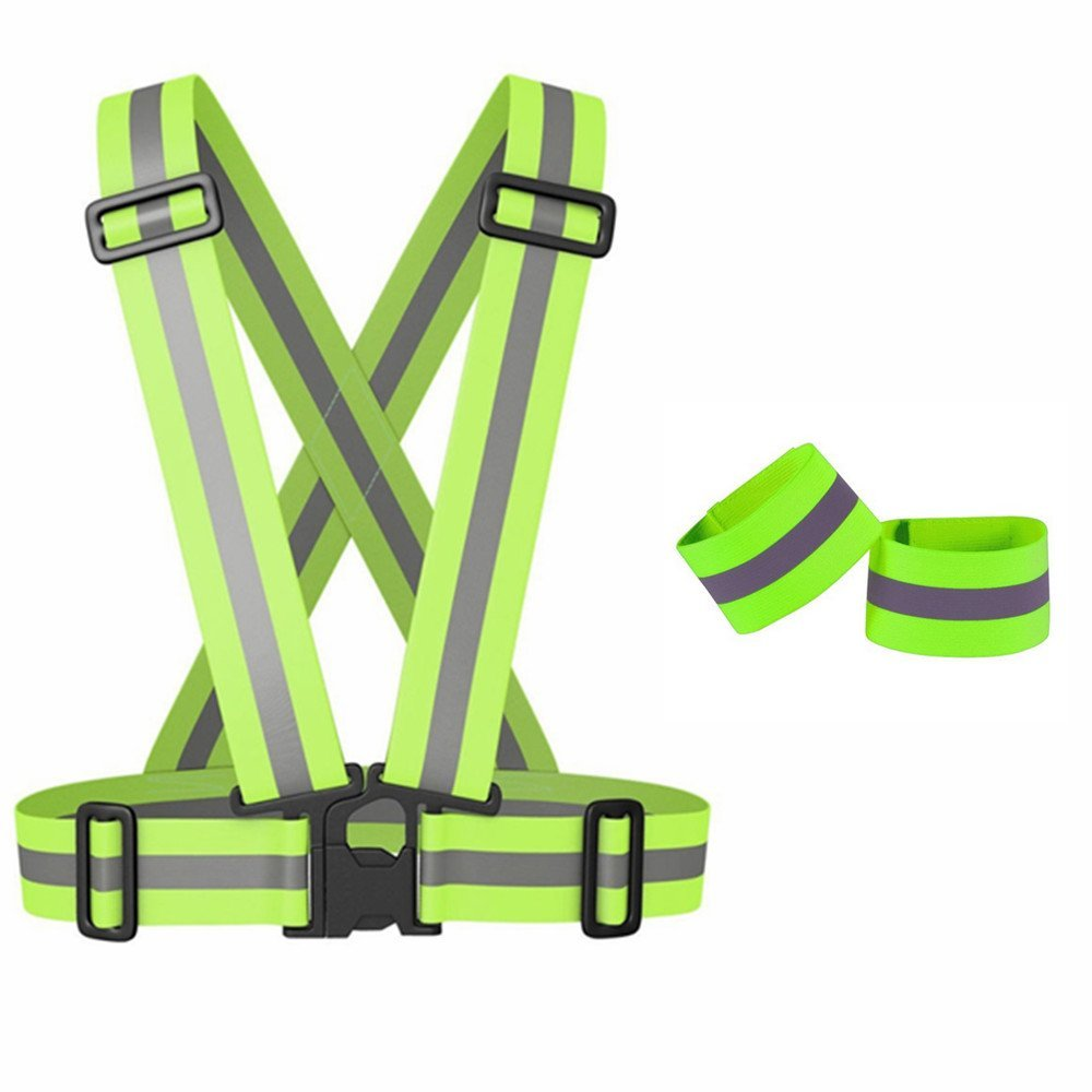 Safety High Visibility Adjustable Reflective Vest (Neon Green)