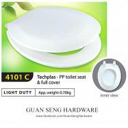 image of Techplas Plastic Light Duty Toilet Seat & Full Cover 4101C(WHITE)