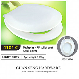 image of Techplas Plastic Light Duty Toilet Seat & Full Cover 4101C(WHITE)