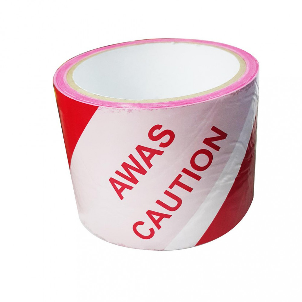 Caution Awas Warning Safety Non Adhesive Red White Tape